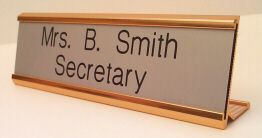 "8"" Metal Desk Nameplate- Block Font"