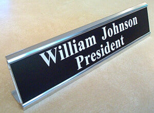 "10"" Metal Desk Nameplate - Choice of Font"