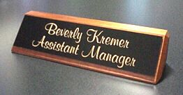 "8"" Walnut Desk Nameplate - Plastic Plate"