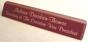"12"" Walnut Desk Nameplate - Plastic Plate"