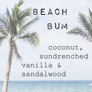 """BEACH-BUM"" sun-drenched coconut & sandalwood. LARGE CANDLE. 220g 35+ hour burn time"