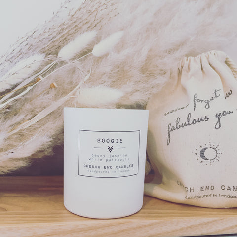 """BOOGIE"" peony, jasmine and white patchouli candles"