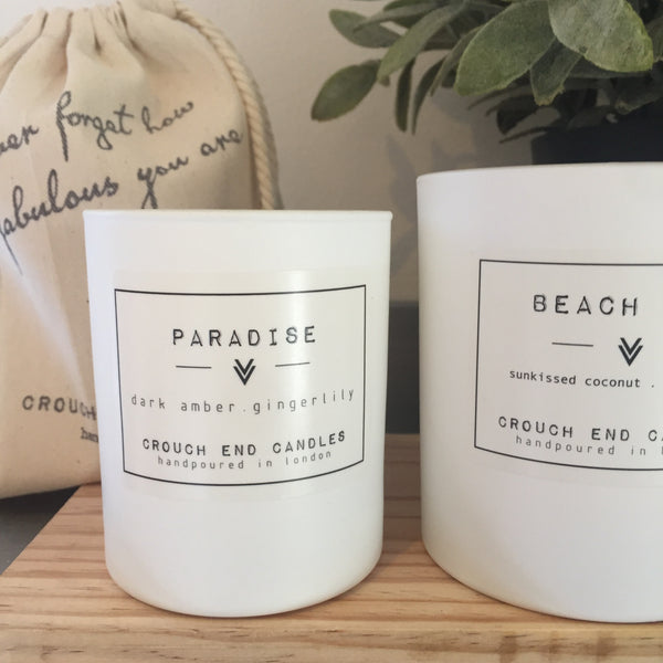 """PARADISE"" lily, sandalwood, patchouli & dark amber candles"
