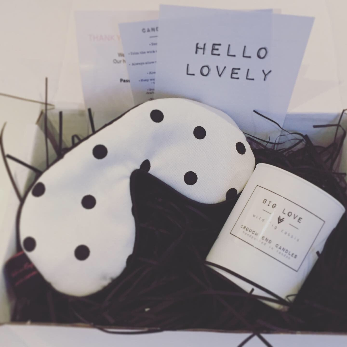 "Dotty Gift Set - ""Bid Dreams"" 160g Scented candle and spot lavender Sleep Mask Gift Set 01"