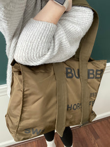 Burberry Belt Detail Nylon Large tote