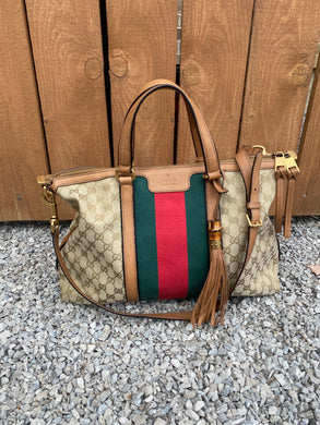 Gucci Rania GG print Canvas satchel with strap