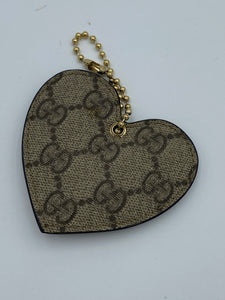Gucci GG print heart bag charm