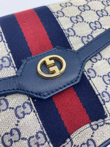 Gucci Web Clutch with chain strap