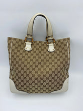 Load image into Gallery viewer, Gucci GG white print Bamboo handles tote
