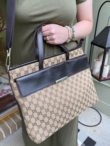 Gucci GG print Large canvas messenger tote with strap