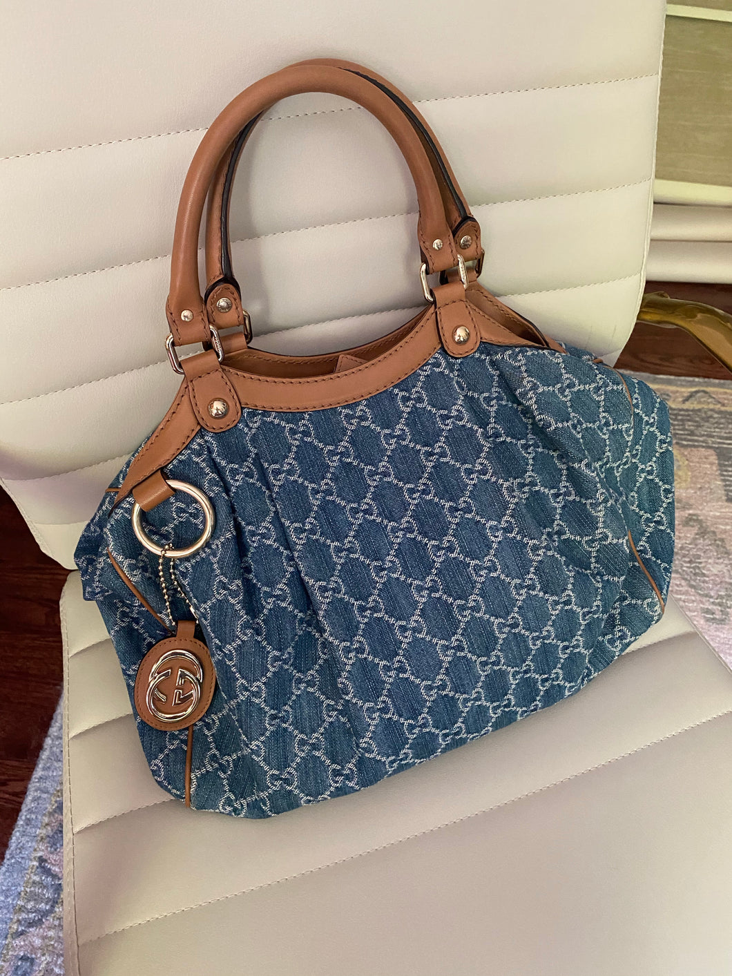 Gucci Denim Sukey tote with charm