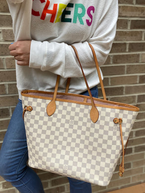 Louis Vuitton Neverfull MM azur with rose ballerine