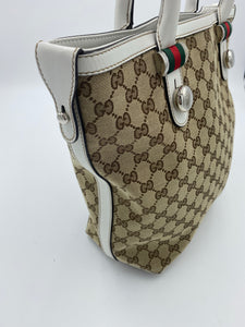 Gucci Medium Match Ball white and gg canvas tote