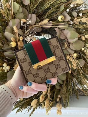 Gucci Web Small French compact wallet