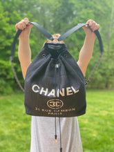 Load image into Gallery viewer, Chanel Denim Deauville drawstring backpack