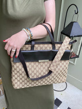 Load image into Gallery viewer, Gucci GG print Large canvas messenger tote with strap