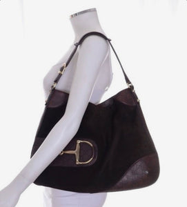 Gucci Suede Horsebit Hassler Hobo shoulder bag