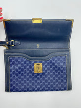 Load image into Gallery viewer, Gucci Blue GG print lock clutch