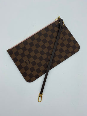 Louis Vuitton Neverfull ebene pouch w/ rose ballerine
