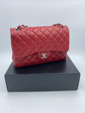 Chanel Jumbo Red Caviar Double flap bag