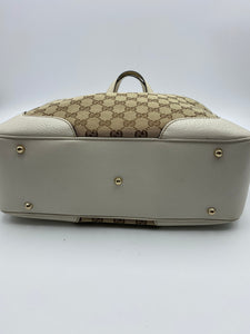 Gucci GG white print Bamboo handles tote