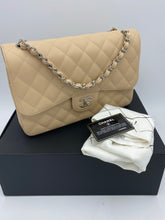 Load image into Gallery viewer, Chanel Jumbo Beige Caviar Double flap bag