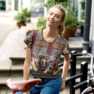 All-Over Print Christmas Crop Dog Tee