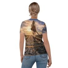 Load image into Gallery viewer, Women's T-shirt all over guitar girl