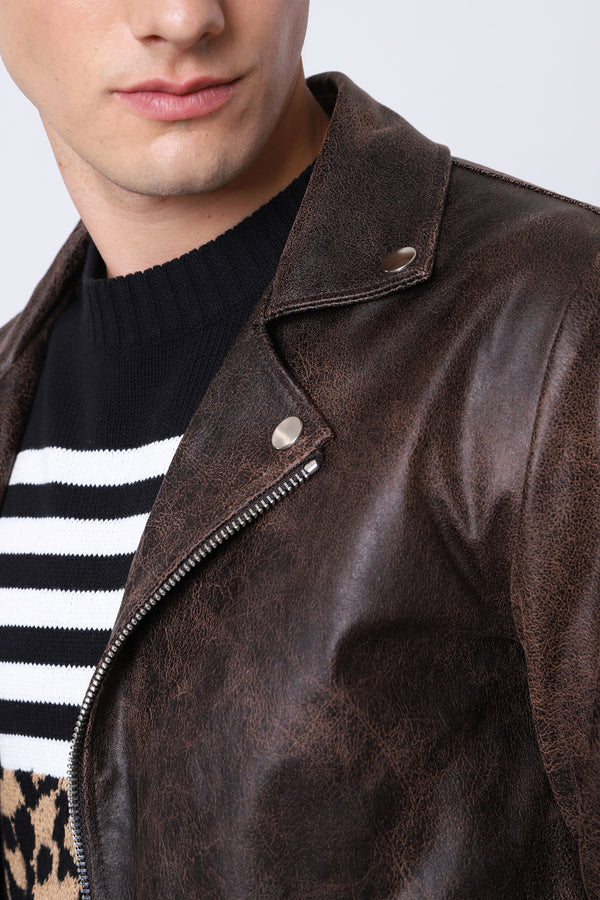 Imperial Uomo Giubbotto Biker Jacket Chiodo Eco Pelle Brown