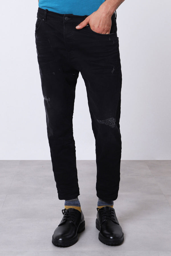 Imperial Uomo Jeans Denim Carrot Slim Gamba Dritta Black