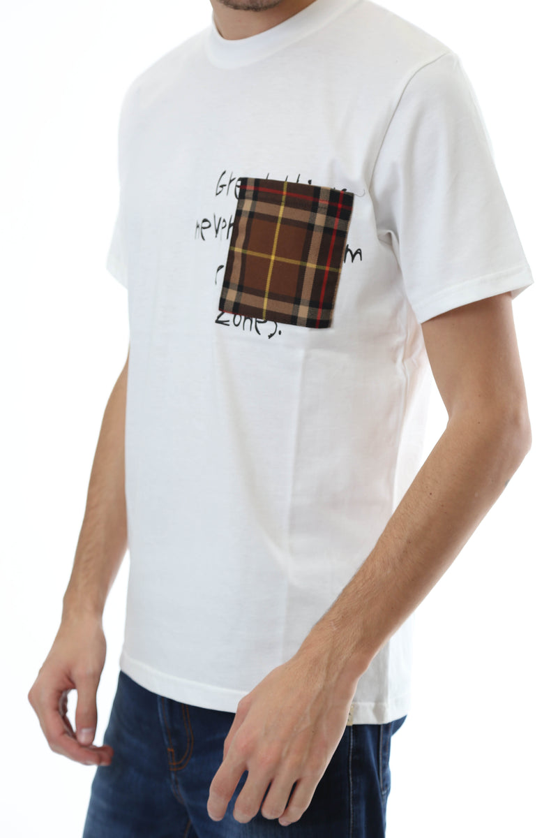 Gold Rush Uomo T-Shirt Basic Tasca Patchwork Tartan White