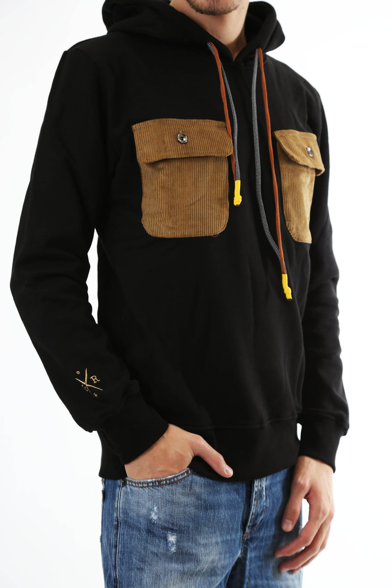 Gold Rush Uomo Felpa Con Cappuccio Hooded Sweatshirt Tasche Black