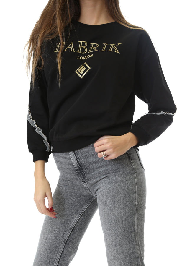 Fabrik London Donna Felpa Sweatshirt Girocollo Con Logo Gold Black