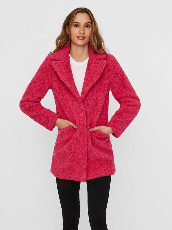 Vero Moda Donna Cappotto Teddy Coat Media Lunghezza Pink