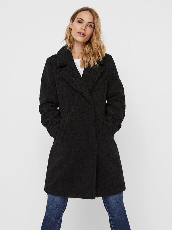 Vero Moda Donna Cappotto Teddy Coat Lucinda Black
