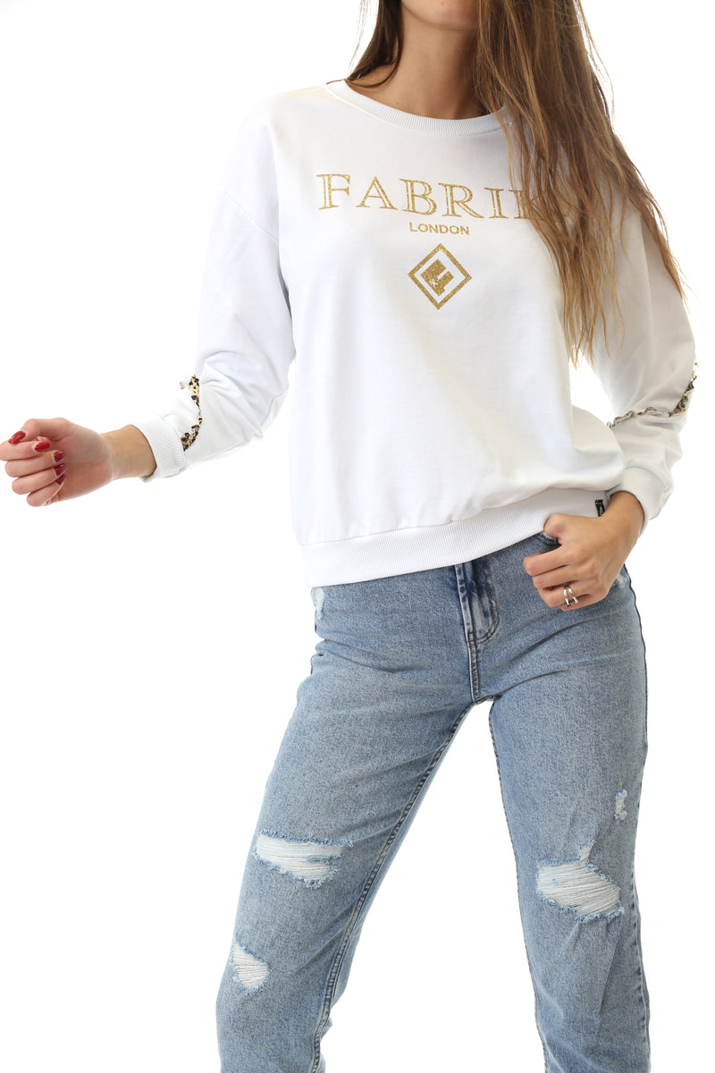Fabrik London Donna Felpa Sweatshirt Girocollo Con Logo Gold White