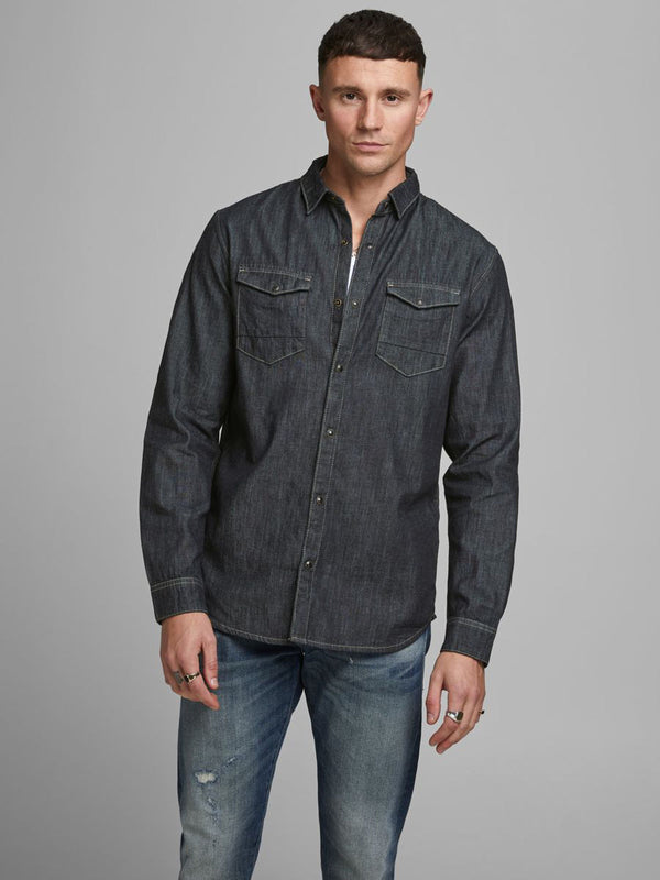 Jack & Jones  Uomo Camicia Manica Lunga Slim Black Denim