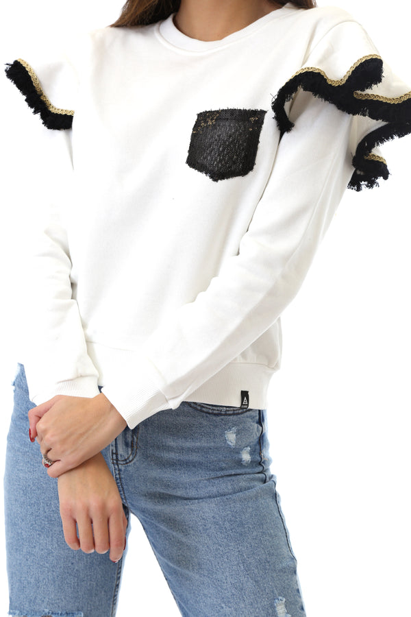 Fabrik London Donna Felpa Sweatshirt Girocollo Con Rouches Gloria White
