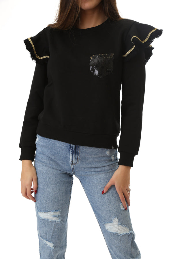 Fabrik London Donna Felpa Sweatshirt Girocollo Con Rouches Gloria Black