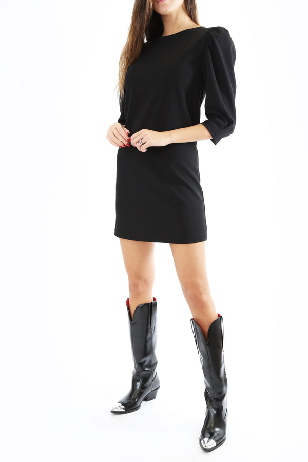 Vicolo Donna Mini Abito Dress Dritto Manica Tre Quarti Spalla Sbuffo Black