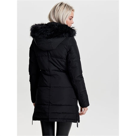 Only Donna Piumino Imbottito Puff Jacket Con Cappuccio In Pelliccetta Eco Faux Fur Black