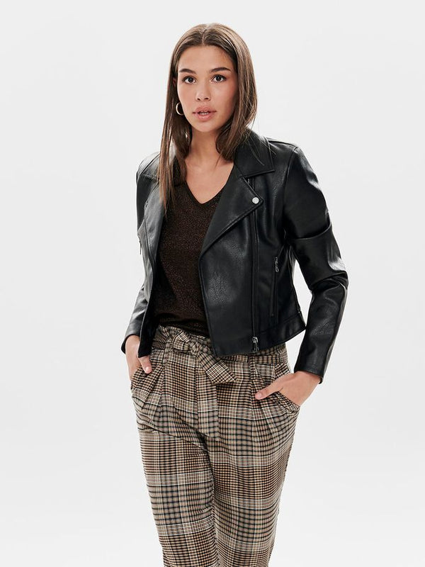 Only Donna Giacca Chiodo Eco Pelle Faux Leather Biker Jacket Lenya