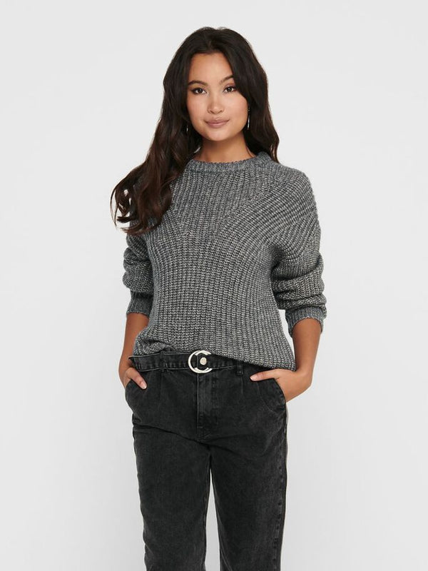 Only Donna Maglia Sweater Manica Lunga Girocollo Morbido Fiola Grey