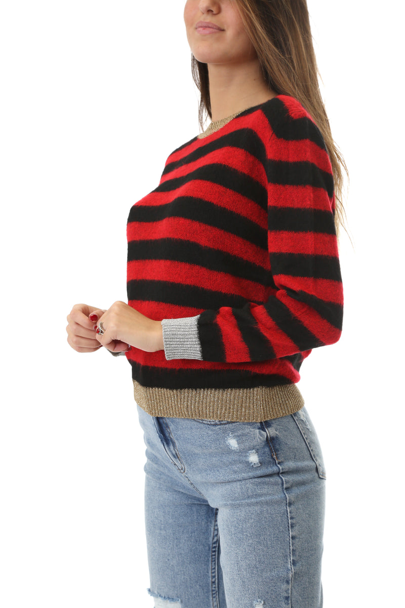 Shop Art Donna Maglia Pullover Manica Lunga Girocollo Striped