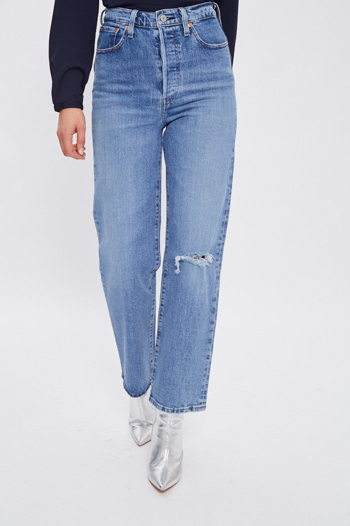 Levi's Jeans Donna Ribcage Straight Ankle Denim Gamba Dritta Light Wash Jive Bea