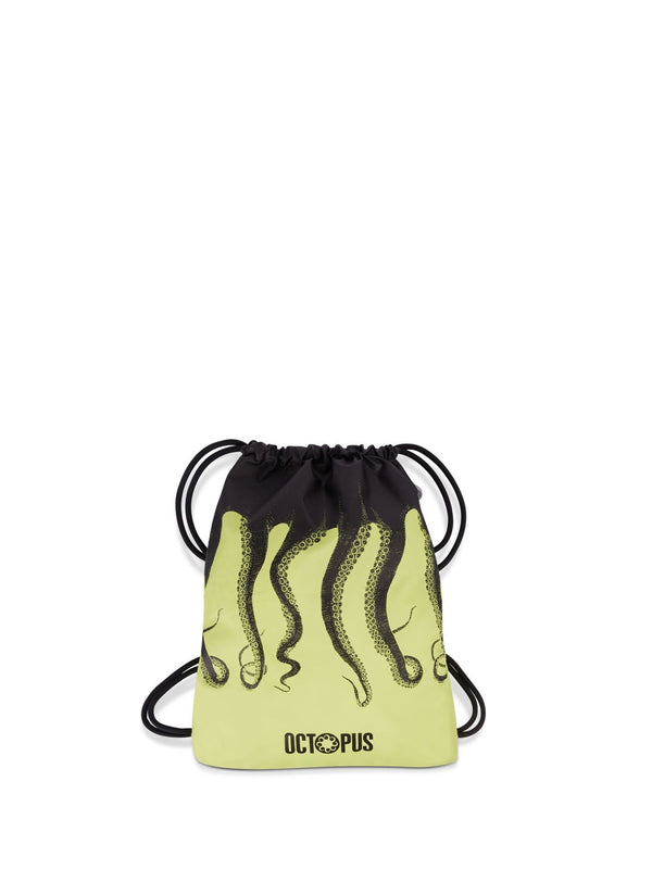 Octopus Zaino Screen Printed Drawstring Backpack Yellow