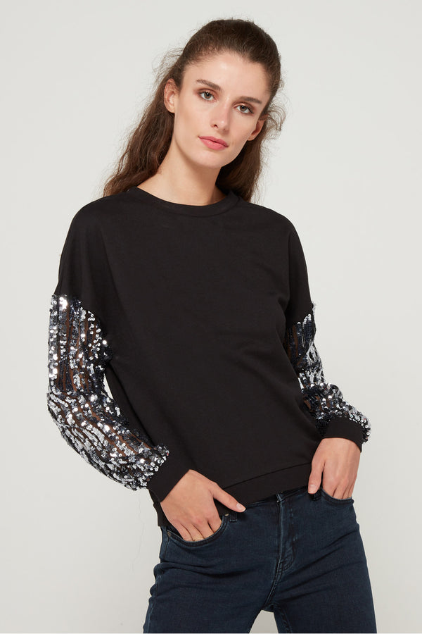 Only Donna Felpa Girocollo Manica Lunga Sweatshirt Paillettes Sequins Melody Black