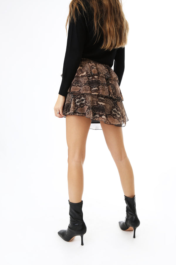 Vicolo Donna Gonna Mini Skirt Animalier Volant Reptile