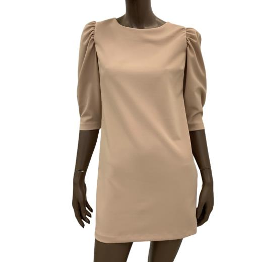 Vicolo Donna Mini Abito Dress Dritto Manica Tre Quarti Spalla Sbuffo Sand