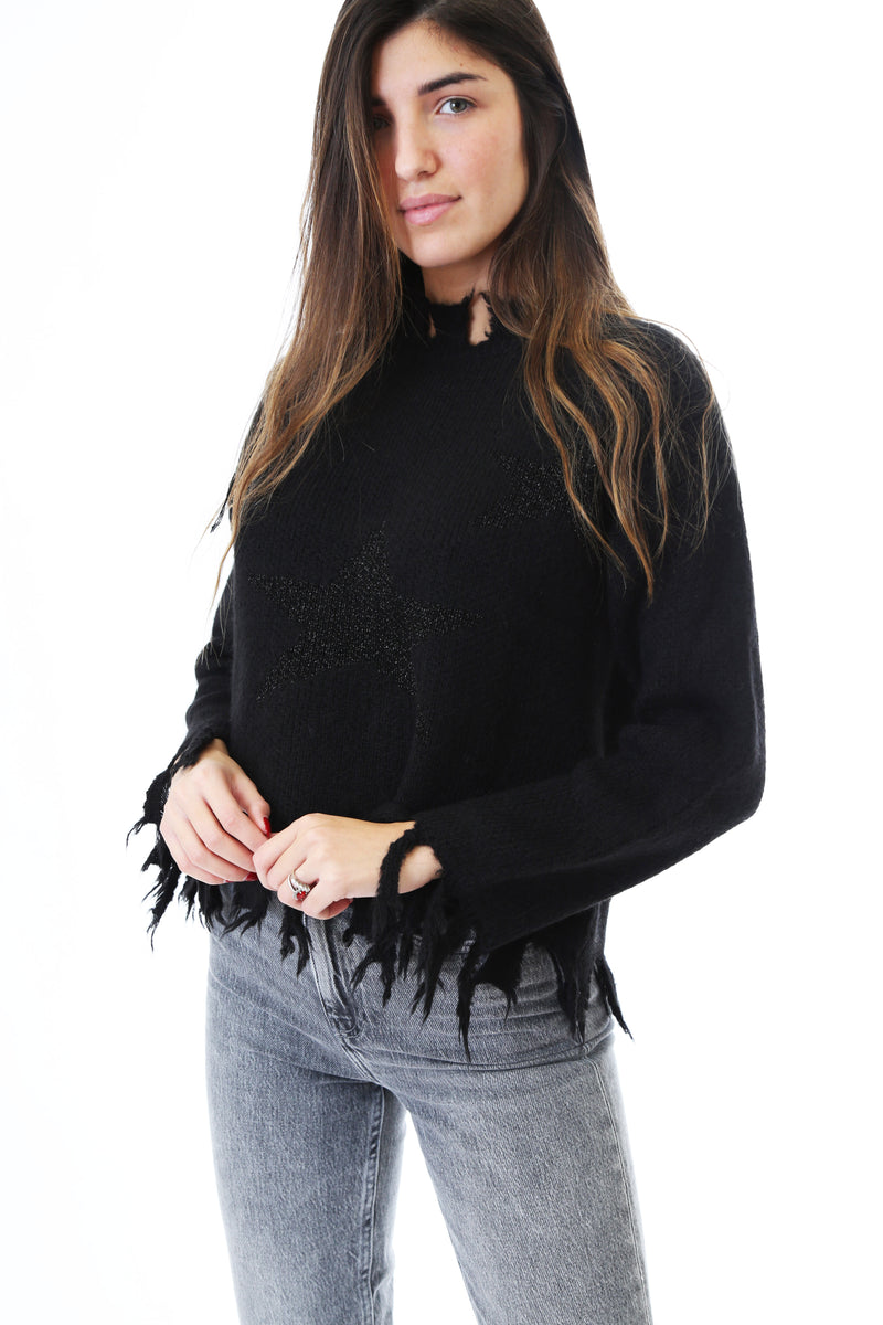 Fabrik London Donna Maglia Pullover Starry Shelby Black